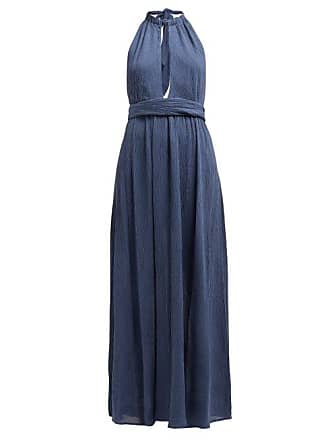 Mara Hoffman Linny Halterneck Plissé Voile Dress - Womens - Blue