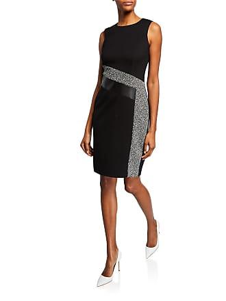 Iconic American Designer Tweed Patchwork Sheath Dress