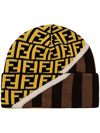 Fendi FF logo intarsia beanie - Marrom