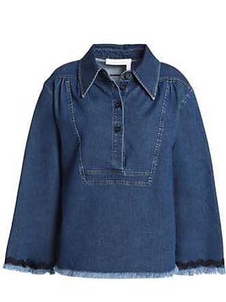 See By Chloé See By Chloé Woman Rickrack-trimmed Frayed Denim Top Mid Denim Size 34