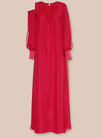 L'autre Chose DRESS IN MAGENTA SATIN WITH CUT-OUT SLEEVE