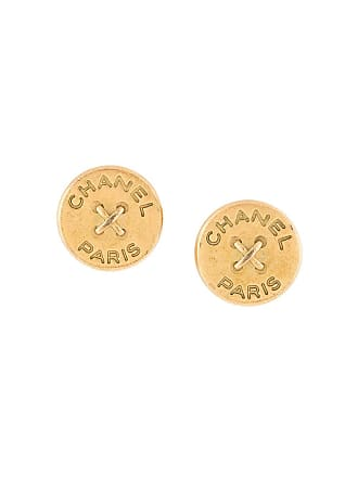 Chanel button logo earrings - Gold
