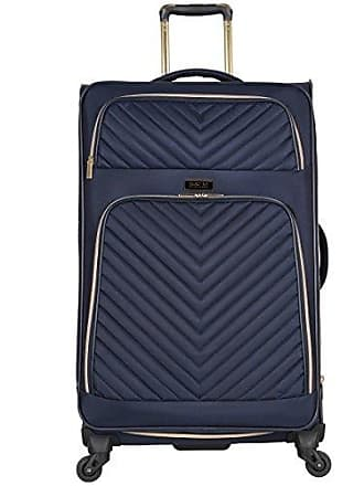 Kenneth Cole Reaction Kenneth Cole Reaction Womens Chelsea 28 Softside Chevron Quilted Expandable 4-Wheel Spinner Checked Suitcase, Navy