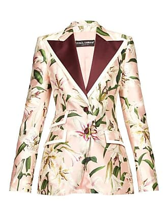 afcace09 Dolce & Gabbana Single Breasted Floral Print Shantung Blazer - Womens -  Pink Multi