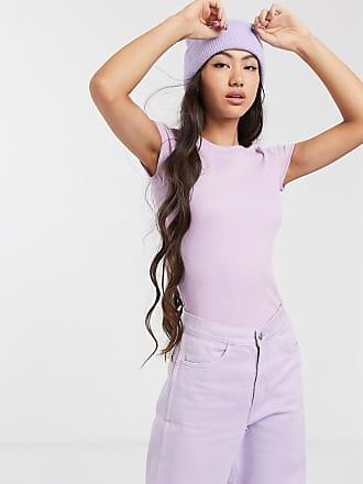 Monki T-shirt a coste lilla-Viola