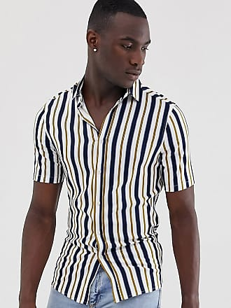 ffb53f3089652a Asos Tall skinny fit stripe shirt in white - White
