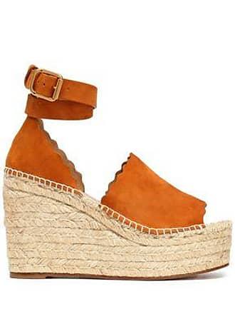 Chloé Chloé Woman Lauren Suede Espadrille Wedge Sandals Tan Size 35