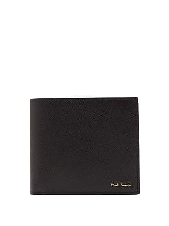 Paul Smith Mini Print Textured Leather Bi Fold Wallet - Mens - Black