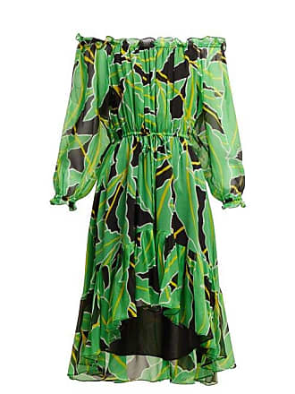 Diane Von Fürstenberg Camilla Off The Shoulder Printed Silk Dress - Womens - Black Green