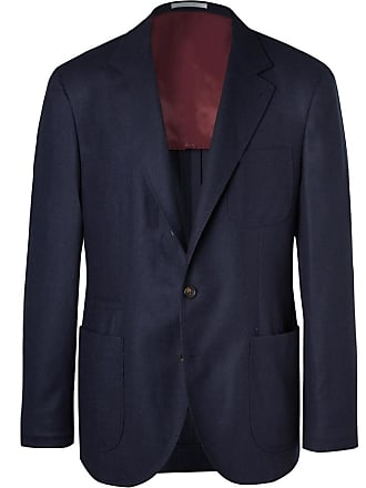 Brunello Cucinelli Navy Unstructured Wool, Silk And Cashmere-blend Blazer - Navy