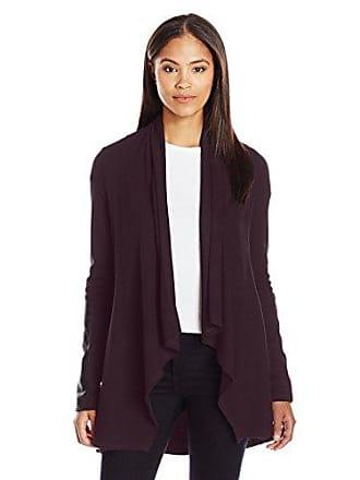 Karen Kane Womens Faux Leather Patch Jacket, Eggplant, XL