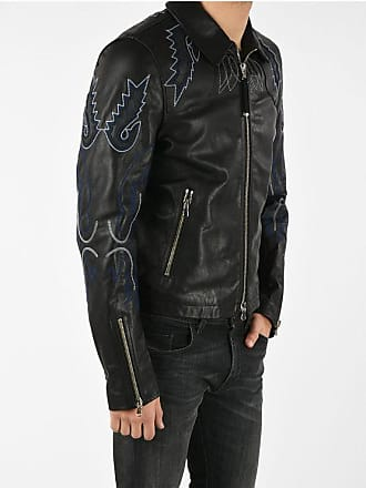 Diesel BLACK GOLD Leather Embroidered LITEX Jacket size 46
