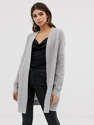 Y.A.S chunky cable cardigan in gray - Gray