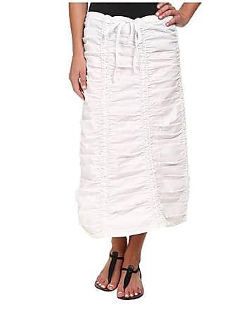 Xcvi Stretch Poplin Double Shirred Panel Skirt (White) Womens Skirt