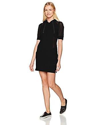 Blanc Noir Womens Short Sleeve Hoodie Dress, Black, M