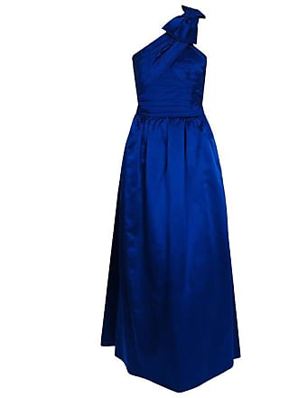 5e318cda0eb 1stdibs 1950s Elegant Sapphire Blue Satin Pleated One-shoulder Bow Evening  Formal Gown