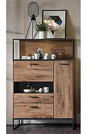 Wohnconcept Manhattan Highboard 99x38x151cm Haveleiche Cognac/Graphit