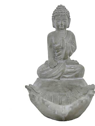 Three Hands 10.25 in. Terracotta Meditation Buddha in Gray - 52294