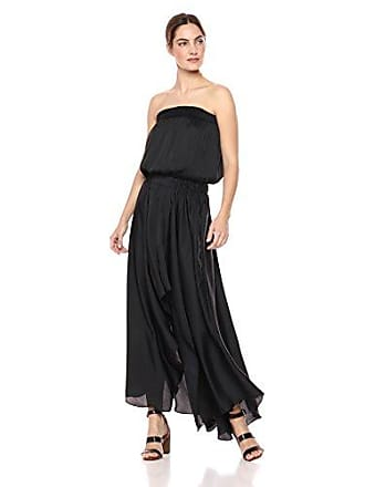 Halston Heritage Womens Strapless Ruched Waist Handkerchief Gown, Black Medium