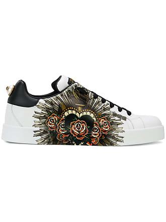 Dolce   Gabbana Tênis de couro Sacred Heart Portofino - Branco 68f10f9bd1