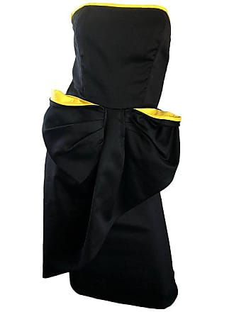 e448a91606d1 Victor Costa Vintage Victor Costa Black + Yellow Avant Garde 1980s Strapless  Cotton Dress