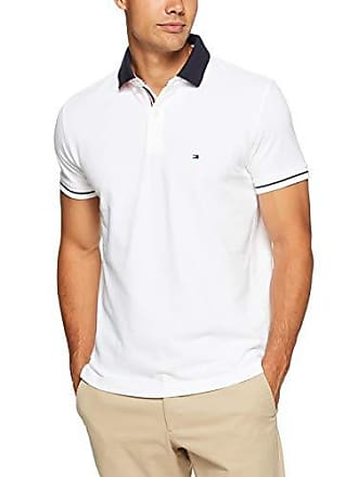 a3b771df8 Tommy Hilfiger Mens 1985 Polo T-Shirt with Sleeve Tipping and Navy Collar,  Bright