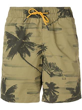 G-Star Raw Research Short de natação com estampa de palmeiras - Verde