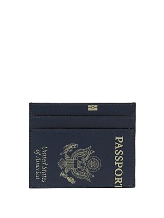VETEMENTS Passport Print Leather Cardholder - Womens - Navy