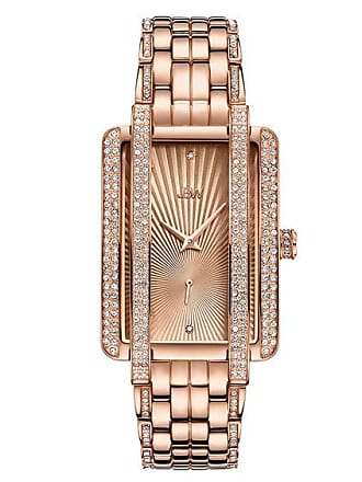 Zales Ladies JBW Mink 1/8 CT. T.w. Diamond and Crystal 18K Rose Gold Plate Watch with Rectangular Dial (Model: J6358C)
