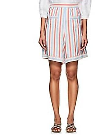 Thierry Colson Womens Simbad Striped Silk Bermuda Shorts - Red/Heaven blue Size XS