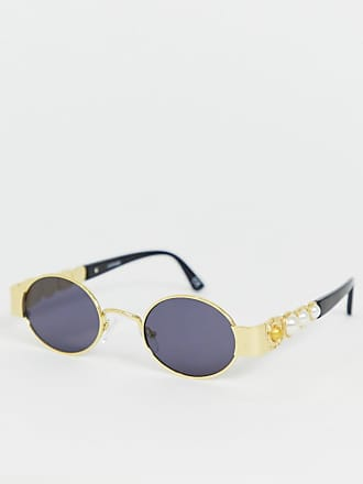 d8565da0aa Asos metal oval sunglasses in gold with smoke lens and faux pearl temple