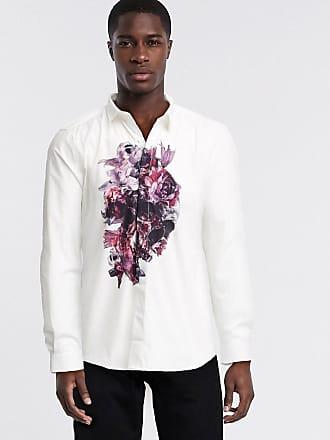 Twisted Tailor Camicia skinny bianca con teschio e fiori sul petto-Bianco