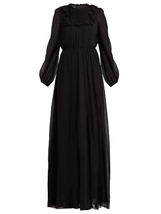 Giambattista Valli Ruffle Trimmed Smocked Silk Crepe De Chine Gown - Womens - Black