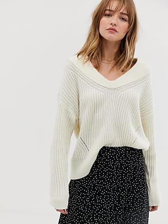Jacqueline de Yong chunky v neck sweater - White