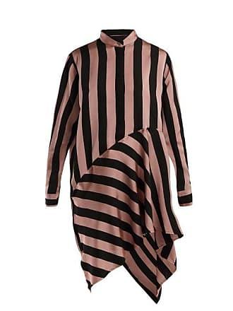 6566ea629c0a4f Marques Almeida Marquesalmeida - Striped Asymmetric Satin Shirtdress -  Womens - Black Pink