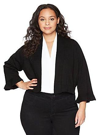 Calvin Klein Womens Plus Size Shrug with lace Back Panel, White/Black, 1X