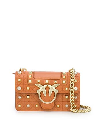 Pinko Love studded crossbody bag - Brown