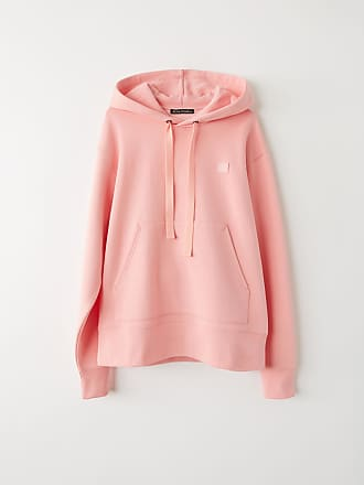 Acne Studios Ferris Face Blush pink Classic fit hooded sweatshirt
