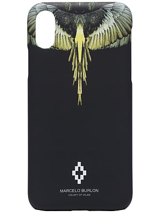 Marcelo Burlon Capa para iPhone X com estampa de asas - Preto
