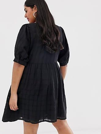 641b717667aa Asos Curve ASOS DESIGN Curve chuck on square neck mini smock dress in  texture - Black