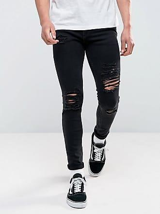 Jack & Jones skinny fit ripped jeans in black wash - Black