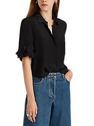 677b0f7a9798a Frame Denim Womens Ruffled Silk Crepe Top - Black Size M