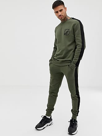 0c5f881c1 Asos tracksuit sweatshirt/skinny sweatpants with text print and side stripe  in khaki - Green