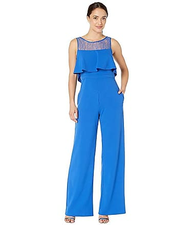 98f8fb257f58 Adrianna Papell Knit Crepe and Lace Popover Jumpsuit (Royal) Womens Jumpsuit  & Rompers One