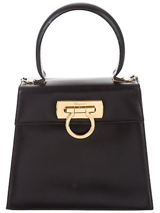 96c095acd67d Salvatore Ferragamo Black Leather Gold Kelly Style Top Handle Mini Bag