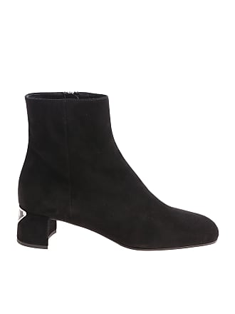 a01d492e8f95 Prada Black ankle boots with square toe and logo