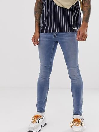 Topman spray on jeans in light blue wash