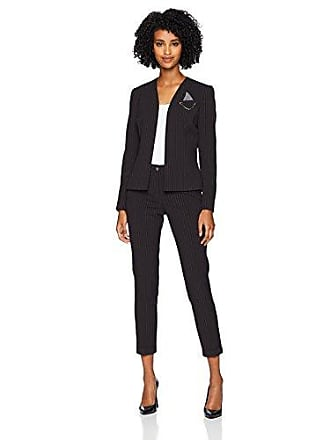 f3a7ee18430 Tahari by ASL Womens Open Front Collarless PIN Detail Striped Pant Suit,  Black/Grey