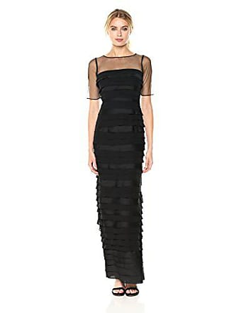 Adrianna Papell Womens Illusion Sleeve Long Shutter Tuck Gown, Black, 10