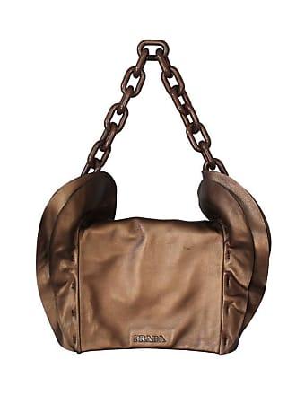 a712b2355c00 Prada Bronze Leather Handbag W/ Side Ruffles & Brown Glitter Enamel Link  Strap